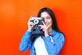 Portrait of pretty woman with retro old vintage camera Royalty Free Stock Photo