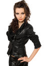 Portrait of pretty young brunette in black clothes. Isolated Royalty Free Stock Photo