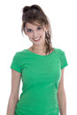 Portrait of a pretty young girl smiling in green shirt. Royalty Free Stock Photo