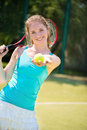 Portrait of  pretty young tennis player Royalty Free Stock Photo
