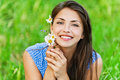Portrait pretty young woman bouquet Stock Images