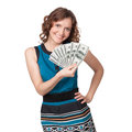 Portrait pretty young woman holding fan dollar bills white background Stock Image