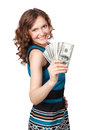 Portrait of pretty young woman holding a fan of dollar bills on white background Stock Image