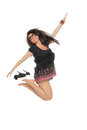 Portrait of a pretty young woman jumping in joy Royalty Free Stock Photos