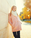 Portrait pretty young woman in sunny autumn day Stock Photos