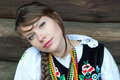 Portrait of a pretty young woman in traditional polish costume polish folk costume Royalty Free Stock Photography