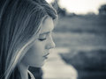 Portrait in profile of a teenage girl clos up Royalty Free Stock Photo