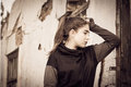 Portrait in profile of a thoughtful teenage girl Royalty Free Stock Photo