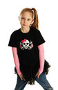 Portrait of a punk rock girl cute young isolated on white background wearing pirate clothes and star tutu Stock Photo