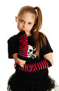 Portrait of a punk rock girl cute young isolated on white background wearing pirate clothes and star tutu Stock Photos