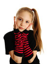 Portrait of a punk rock girl cute young isolated on white background wearing pirate gloves Royalty Free Stock Photo