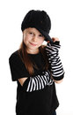 Portrait of a punk rock young girl with hat cute preschool age isolated on white background wearing clothes and star Royalty Free Stock Photos