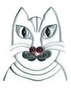 Portrait quilling d application de chat gris avec le nez de coeur Photographie stock libre de droits