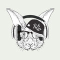 Portrait of rabbit in hip-hop hat. Vector illustration.