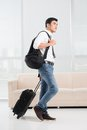 Portrait ready male traveler Stock Image