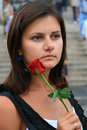 Portrait with red rose Stock Photos