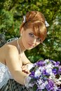 Portrait redhead charming bride of a beautiful with big eyes on a sunny day Stock Image