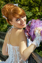 Portrait redhead charming bride of a beautiful with big eyes on a sunny day Royalty Free Stock Photos