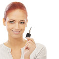 Portrait of a redhead woman holding a car key Stock Images