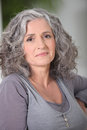 Portrait relaxed gray haired woman Royalty Free Stock Image