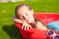 Portrait of relaxing adorable little girl enjoying Stock Photo