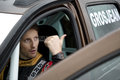 Portrait of romain grosjean driver drives on the car renault duster most prestigious russian winter oval race on ice annual race Royalty Free Stock Photo