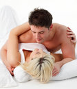 Portrait of a romantic couple on bed Royalty Free Stock Image