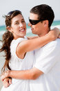 Portrait of Romantic couple hugging Royalty Free Stock Images