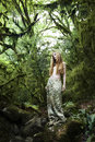 Portrait of romantic woman in fairy forest Royalty Free Stock Photography