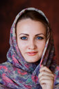 Portrait in russian style of beautiful young woman scarf Stock Photo