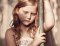 Portrait of sad child outdoor Royalty Free Stock Photography