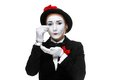 Portrait of the sad and crying mime woman as isolated on white background concept resentment bitterness Royalty Free Stock Images