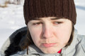 Portrait of a sad girl the beautiful in winter Stock Image