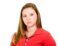 Portrait of sad unhappy teenage girl isolated on white Stock Photography