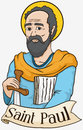 Portrait of Saint Paul Holding a Sword and Scrolls, Vector Illustration