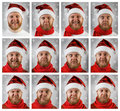 Portrait of santa claus with different emotions in hat Stock Photo