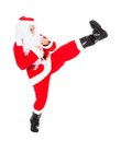 Portrait of santa claus photo kicking over white background Stock Photography