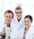 Portrait of a scientists with a microscope Royalty Free Stock Photography