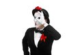 Portrait of the searching mime with hand Royalty Free Stock Photo
