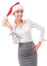 Portrait of secretary in the hat of santa claus young woman office attire figure is isolated on a white background with clipping Royalty Free Stock Photo