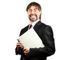 Portrait of a senior businessman holding notebook and smiling Royalty Free Stock Image