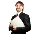 Portrait of a senior businessman holding notebook and smiling Royalty Free Stock Photo