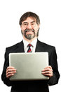 Portrait of a senior businessman holding notebook and smiling Royalty Free Stock Photos