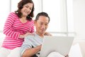 Portrait senior couple learning how to use laptop Royalty Free Stock Photo