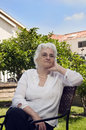 Portrait of senior lady outdoors Royalty Free Stock Images
