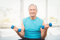 Portrait of senior man exercising with dumbbells Royalty Free Stock Photo