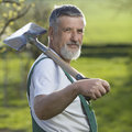 Portrait of a senior man gardening Royalty Free Stock Images