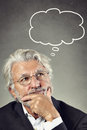 Portrait of a senior man thinking problem and solution conceptual Stock Images