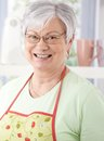 Portrait of senior woman smiling happily wearing cooking apron Royalty Free Stock Photos