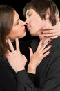 Portrait of a sensual loving couple closeup isolated Stock Photo